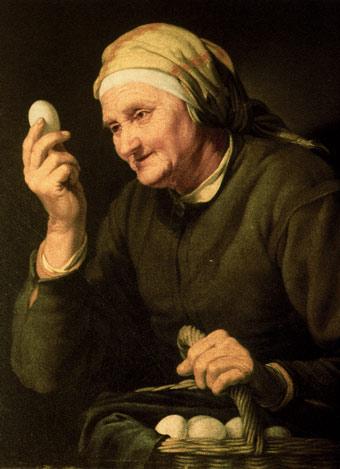 Cuadro de una vendedora de huevos