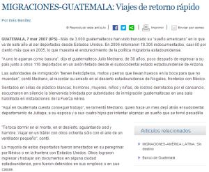 Noticia de emigrantes en Guatemala